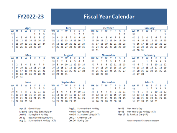 2022 23 Calendar Printable.2022 Fiscal Year Calendar Template Uk Free Printable Templates