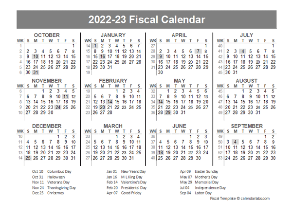 2021 Fiscal Year Quarters Template