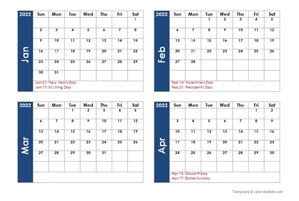 4 Month Calendar 2022.2022 Four Monthly Calendar Template Free Printable Templates