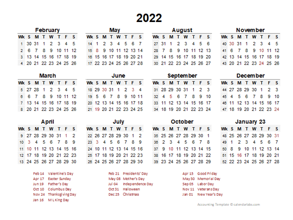 2022 Accounting Period Calendar 4-4-5