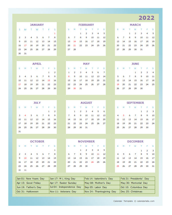 2022 Annual Calendar Design Template