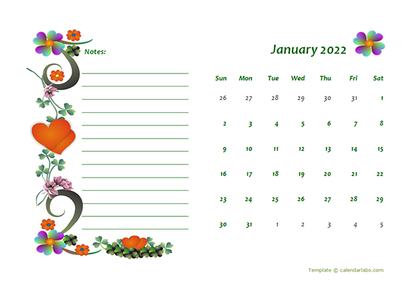 2022 Blank Calendar Design Template - Free Printable Templates