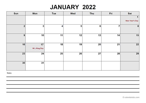 2022 Blank Calendar PDF