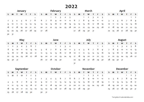 2022 Blank Calendar Template Mac