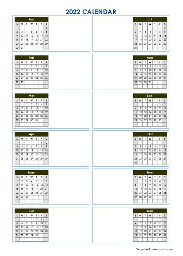 2022 Blank Yearly Calendar Template Vertical Design - Free ...