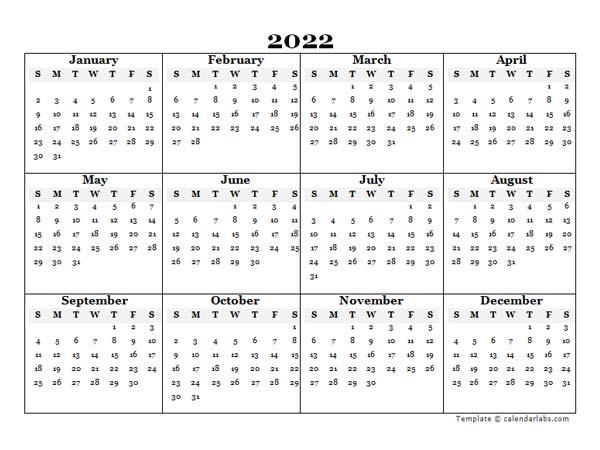 2022 Blank Yearly Word Calendar Template