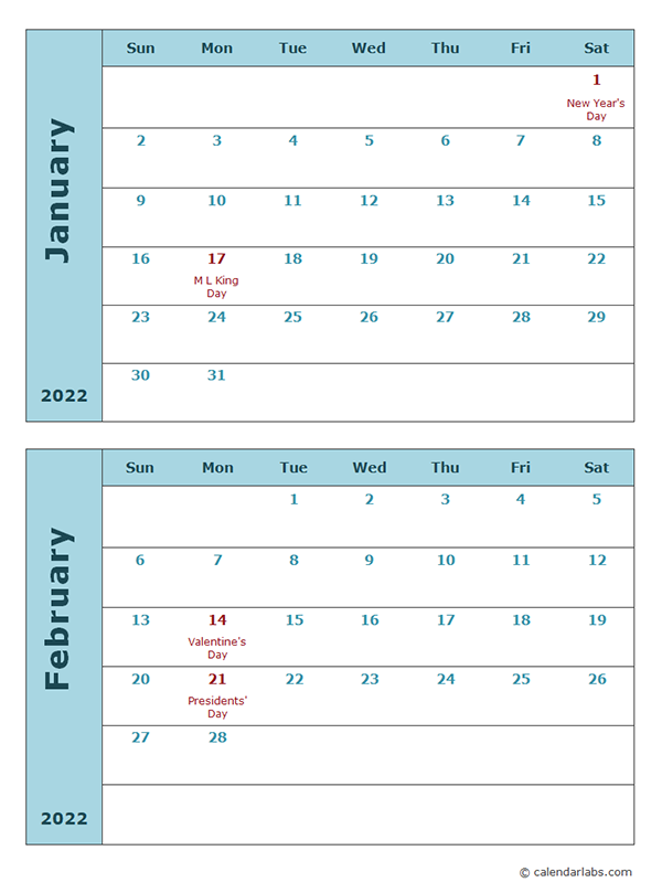 2022 Calendar Template Two Months Per Page