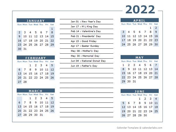 2022 Calendar Template 6 Months Per Page