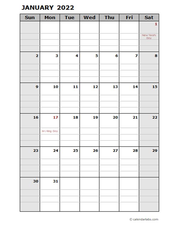 2022 Daily Planner Calendar Template - Free Printable ...