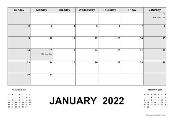 2022 Calendar With Holidays PDF