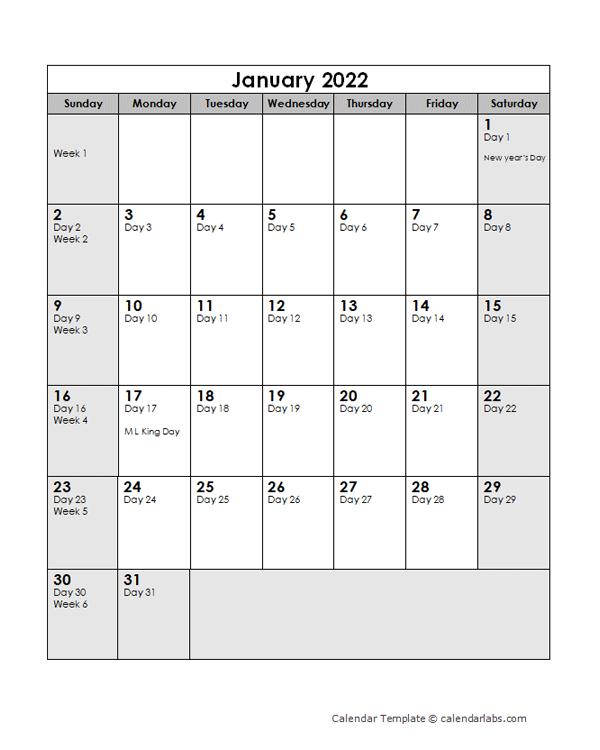 2022 Calendar With Julian Dates
