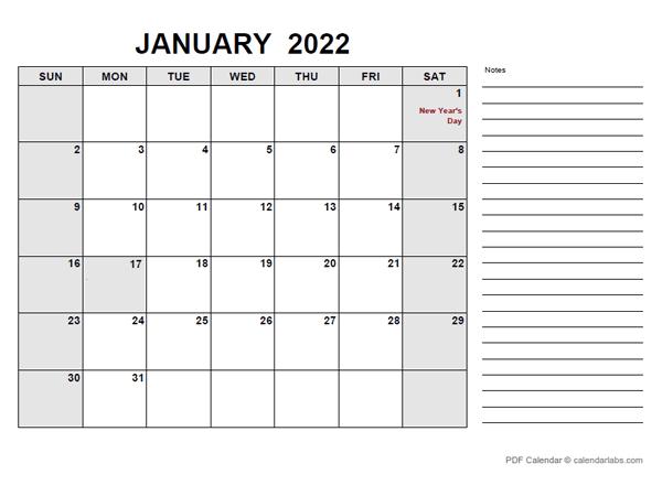 2022 Calendar with New Zealand Holidays PDF