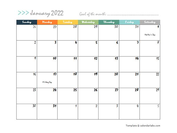 2022 Monthly Word Calendar In Colorful Design