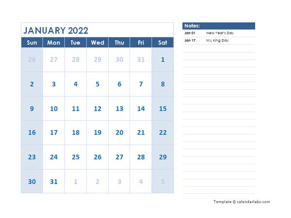 2022 Editable Monthly Word Calendar Template