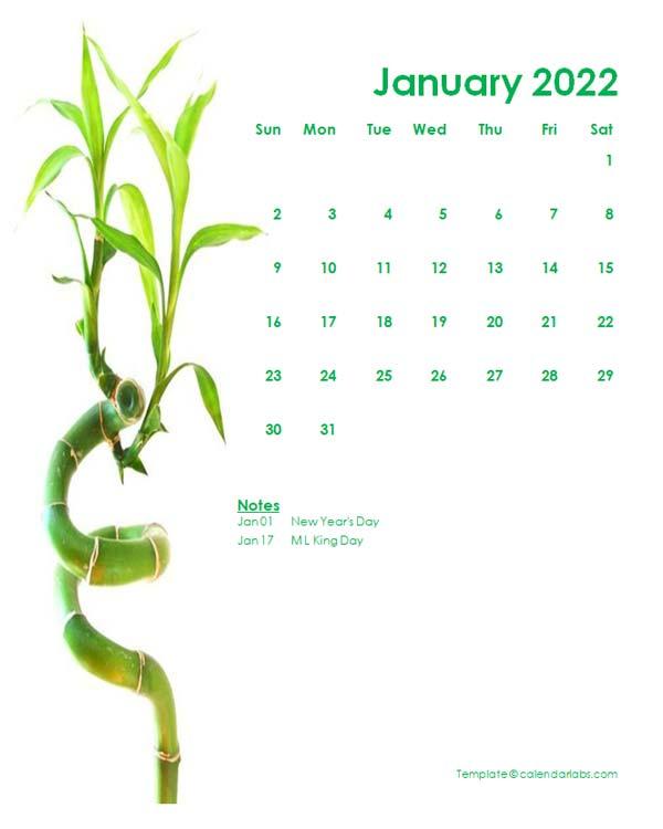 2022 Editable Word Calendar Design Template