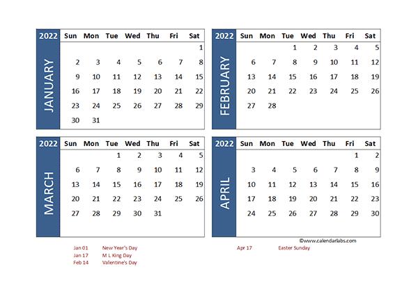 2022 Excel 4 Month Calendar Template