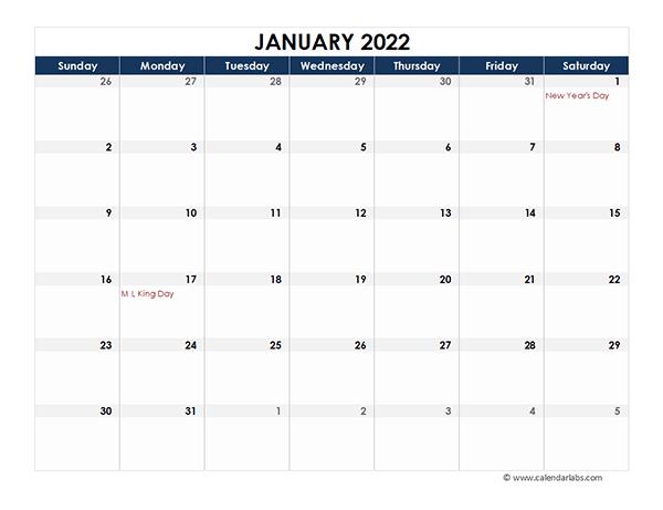 2022 Excel Calendar Spreadsheet Template