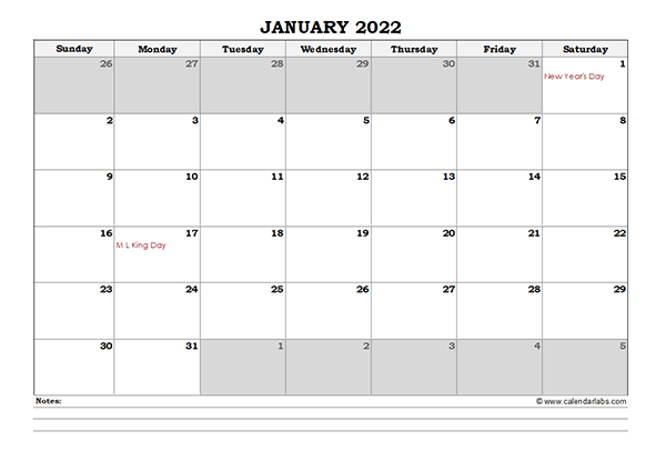 2022 Excel Monthly Calendar With Notes