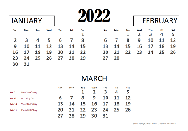 2022 Excel Quarterly Calendar Template