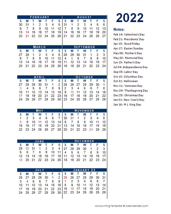 2022 Fiscal Period Calendar 4-4-5