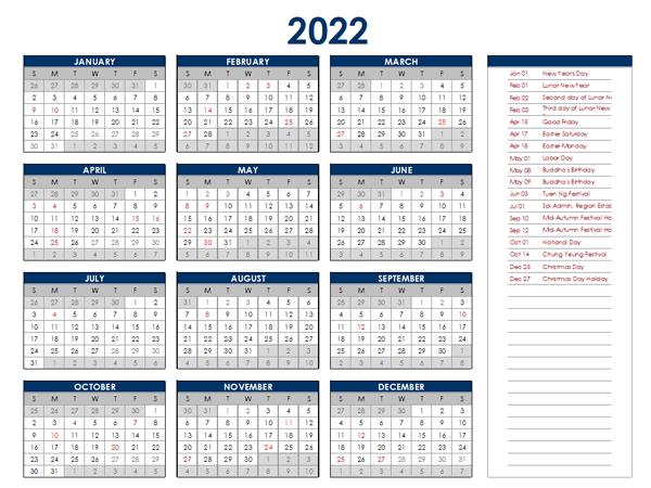 2022 Hong Kong Annual Calendar with Holidays