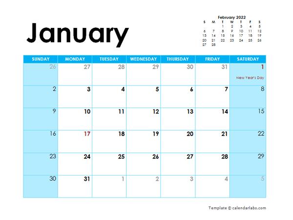 2022 Hong Kong Monthly Calendar Colorful Design