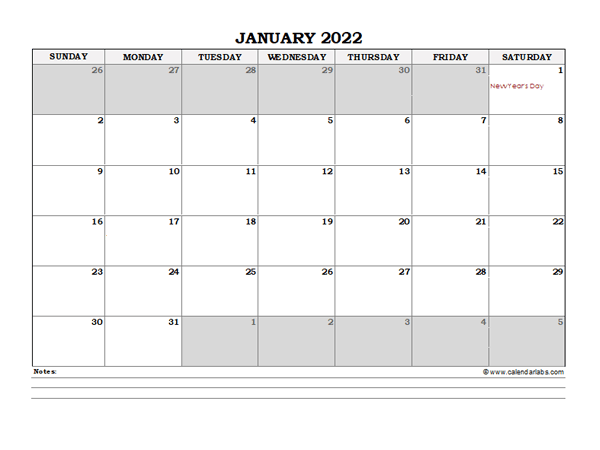 2022 Hong Kong Monthly Calendar with Notes