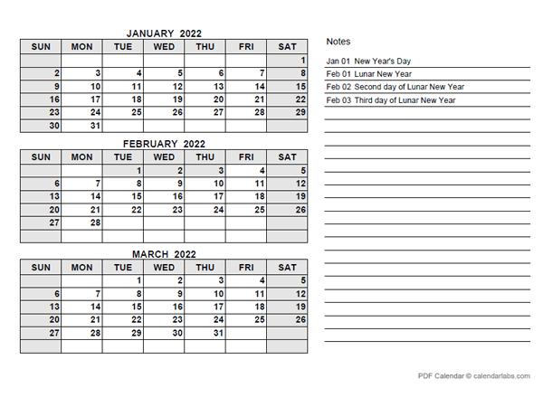 2022 Hong Kong Quarterly Calendar with Holidays