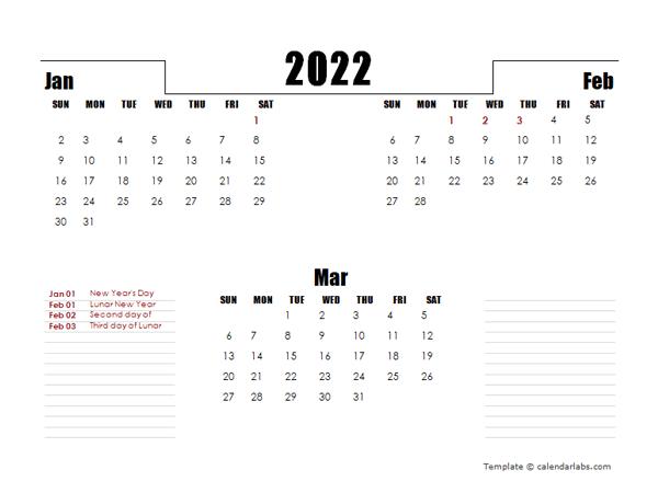 2022 Hong Kong Quarterly Planner Template