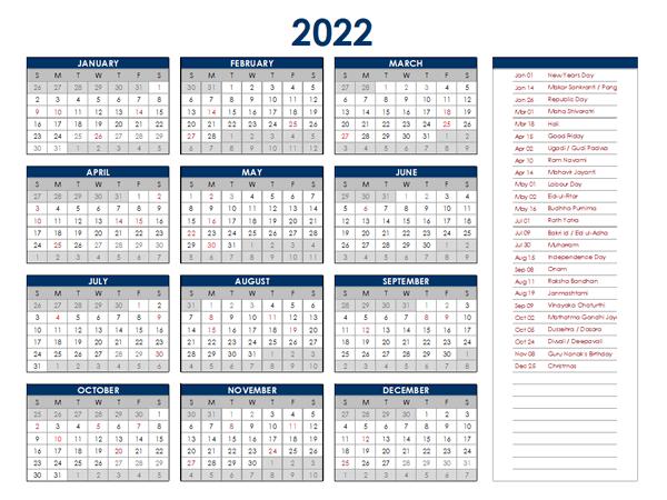 Indian Calendar 2022.2022 India Annual Calendar With Holidays Free Printable Templates