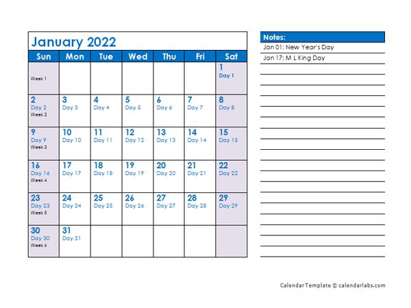 2022 Julian Date Calendar