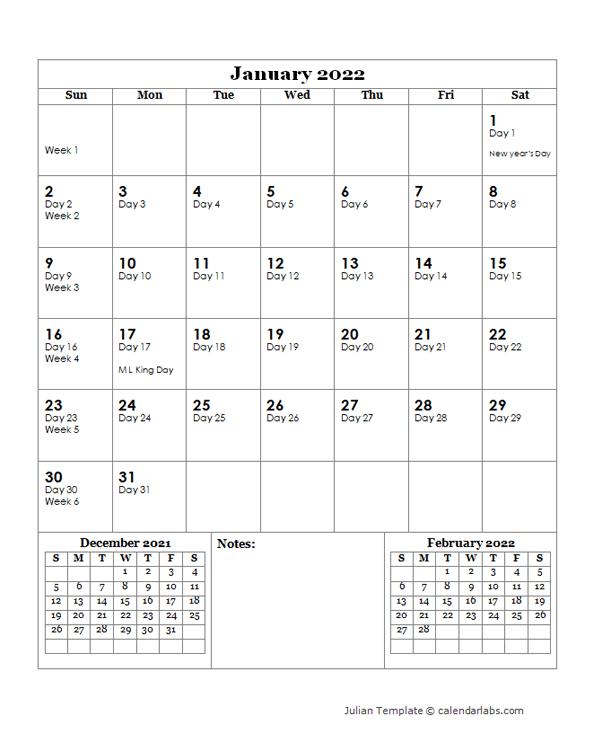 2022 Julian Day Calendar