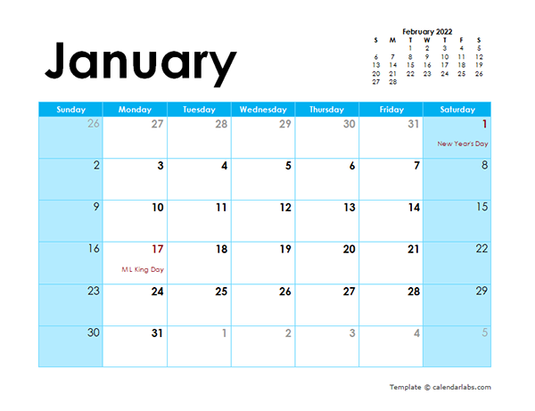 2022 Calendar Colorful Design - Free Printable Templates