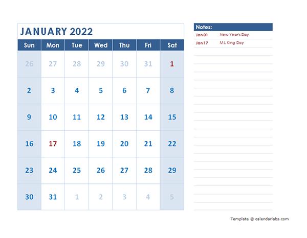 2022 Monthly Calendar Template Landscape