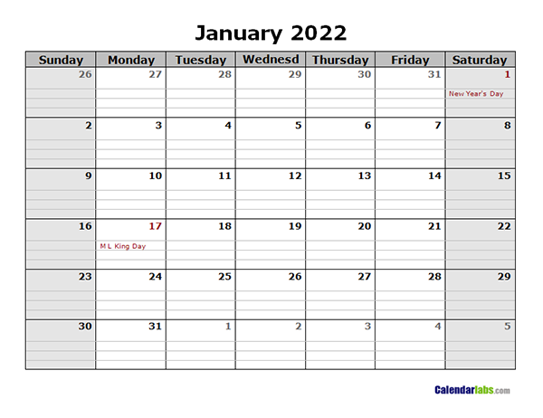 2022 Monthly Calendar with Daily Notes - Free Printable ...