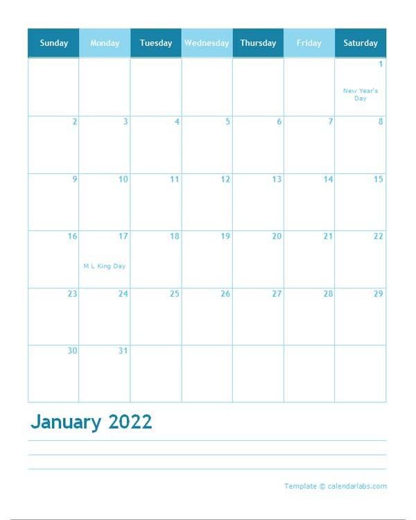 2022 Monthly Word Calendar Template Portrait