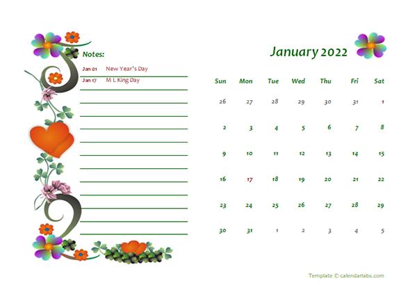 2022 Monthly Calendar Template Design