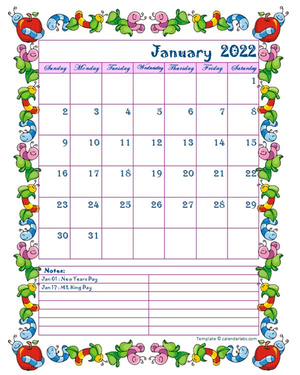 Kids Calendar 2022.2022 Monthly Kid Kindergarten Calendar Template Free Printable Templates