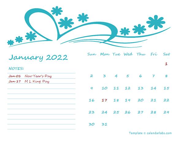 2022 Monthly Calendar Template Kindergarten
