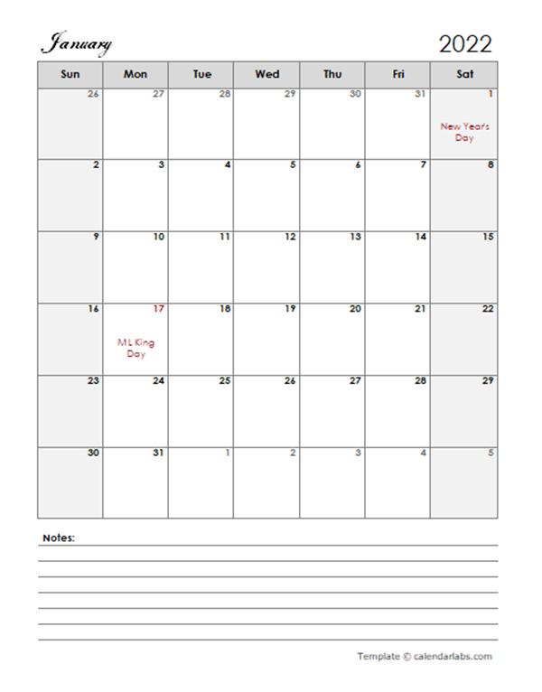 2022 Calendar Template Large Boxes - Free Printable Templates