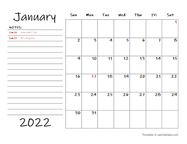 2022 Monthly Calendar With Monthly Notes