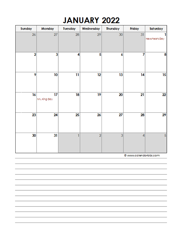 2022 Monthly Excel Template Calendar - Free Printable ...