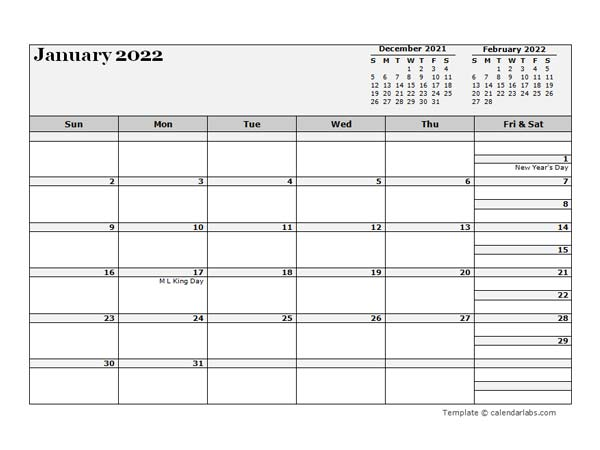 2022 Monthly Planner Template Microsoft Word
