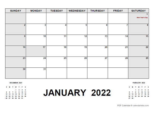 2022 Monthly Planner with Pakistan Holidays
