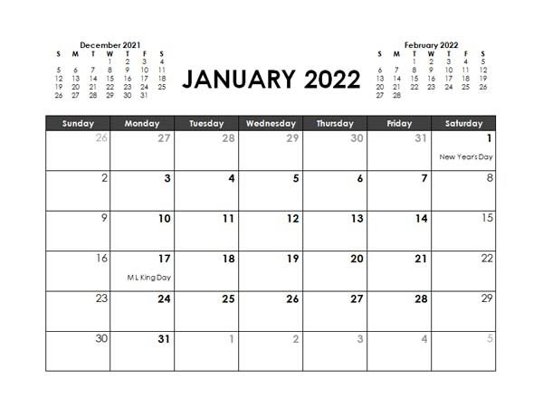 2022 Monthly Planner Word Template