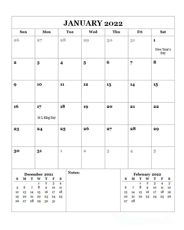 2022 Monthly Planner With US Holidays