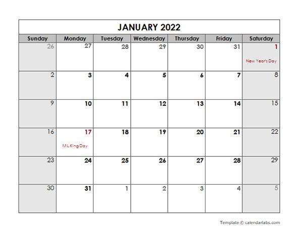2022 Monthly US Holidays LibreOffice Calendar