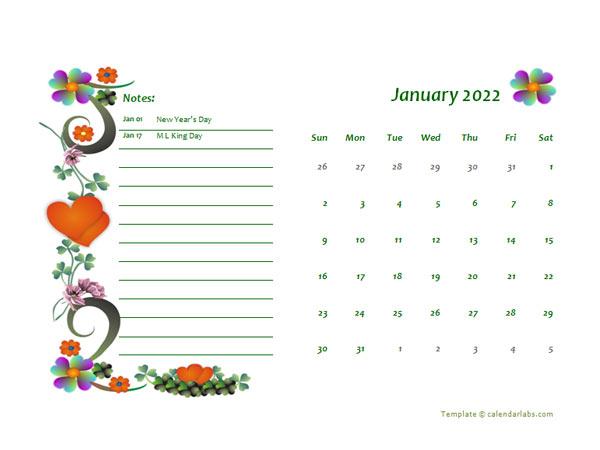 2022 Monthly Word Calendar Design Template