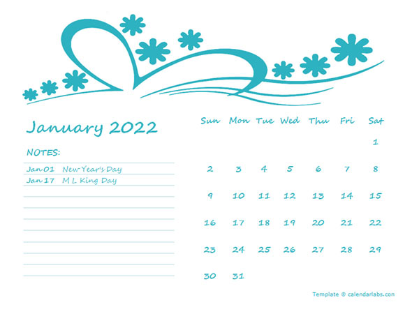 2022 Word Calendar Template For Kindergarten