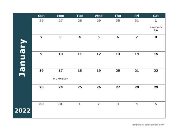 2022 Monthly Word Calendar Landscape Format